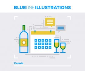 Events blue line vector illustration concept