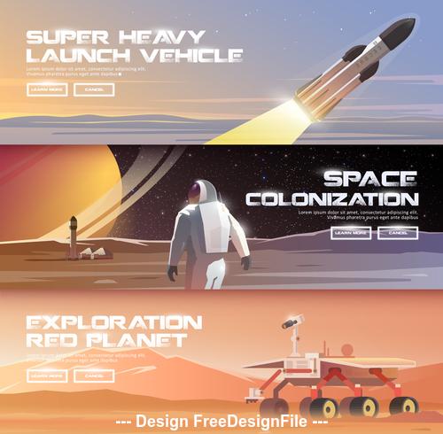 Explore the moon banner vector