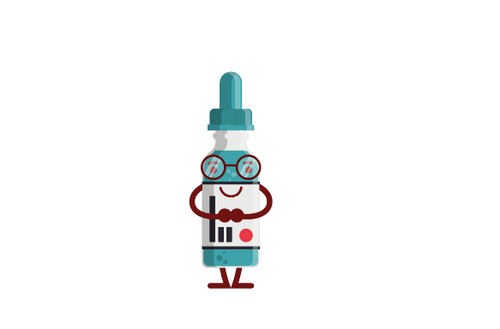 Eye drops bottle expression cartoon vector
