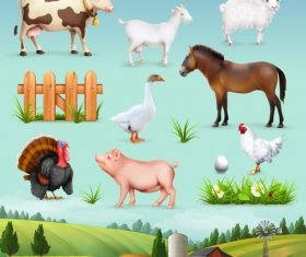 Farm animals and birds vector icons