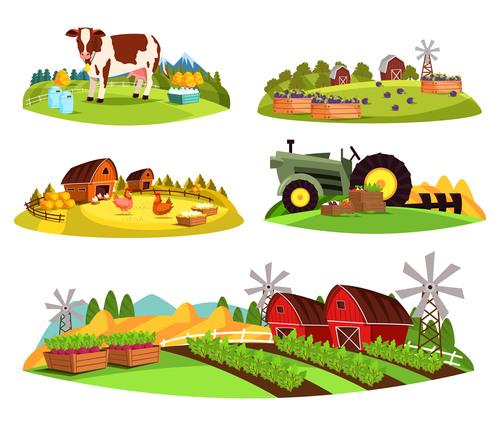 Farm cartoon illustration vector