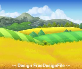 Farm landscape background vector