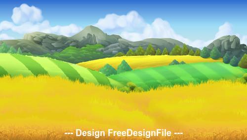 Farm landscape background vector