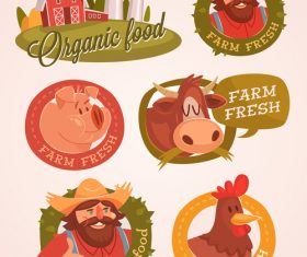 Farm natural fresh products labels vector