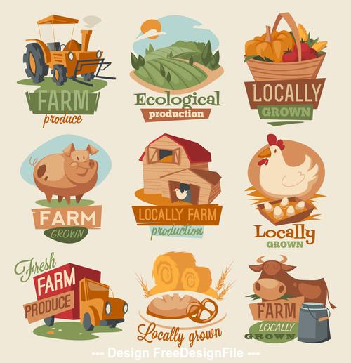 Farm product tag vector