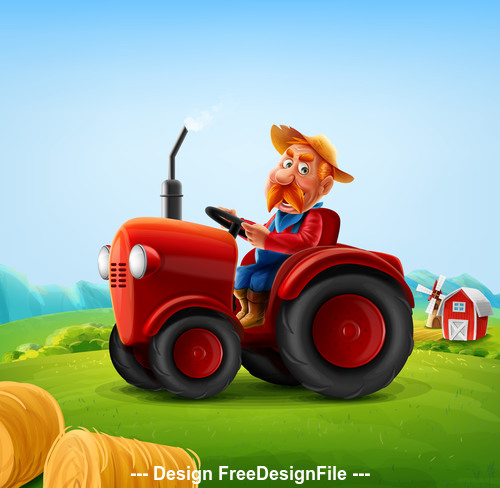 Farmer driving a tractor cartoon Illustrations vector
