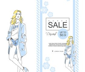 Fashion elegant girl background card vector