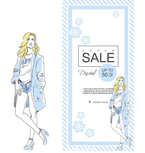 Fashion elegant girl background card vector