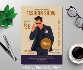 Fashion show subjects flyers vector