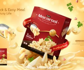 Fast food macaroni advertisement 3d illustration vector