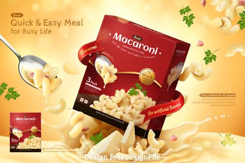 Fast food macaroni advertisement 3d illustration vector