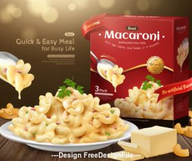 Fast food macaroni and cheese ad vector