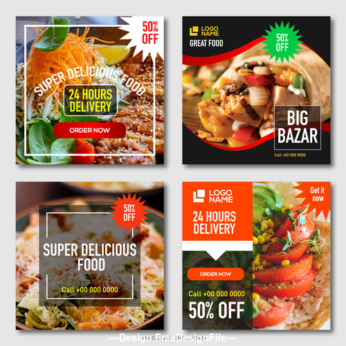 Fast food promotion template design vector