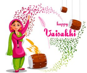 Festival celebrated in punjab India vector