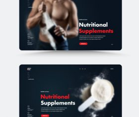 Fitness nutritional supplements cover vector