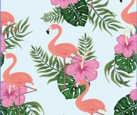 Flamingo background seamless pattern vector