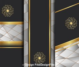 Floral art deco golden background template vector