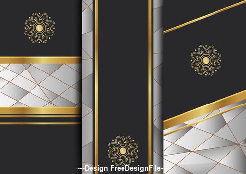Floral art deco golden background template vector