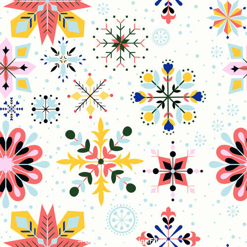 Floral vector snowflake seamless pattern
