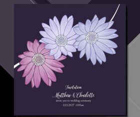 Flower background wedding invitation card vector