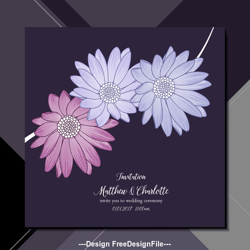 Flower Background Wedding Invitation Card Vector Free Download