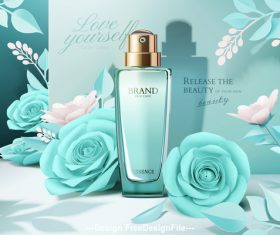 Flowers and cosmetic set ads template vector