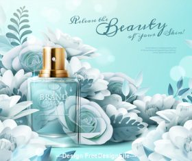 Flowers and perfume ad template vector