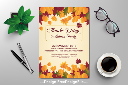 Flyer design autumn vector template