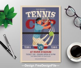 Flyer design tennis vector template