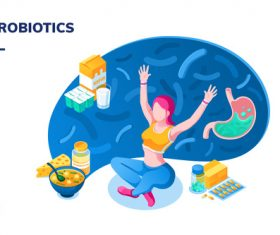Food probiotics content cartoon illustration vector
