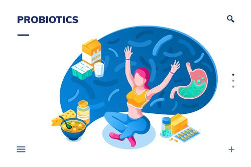 Food probiotics content cartoon illustration vector