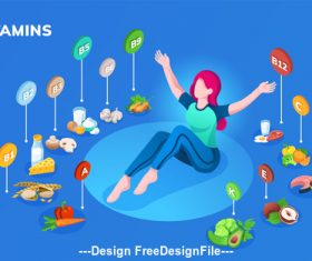 Food vitamins content cartoon illustration vector