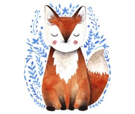 Fox hand drawn watercolor animals vector