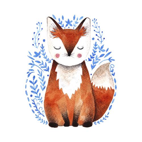 Fox hand drawn watercolor animals vector