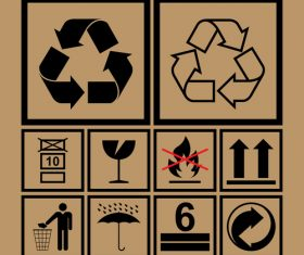 Fragile caution Recyclable symbol vector