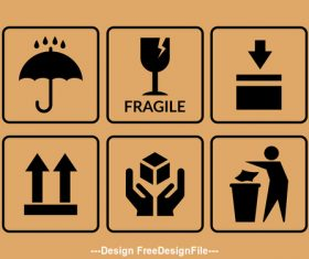 Fragile rainproof packaging symbol vector
