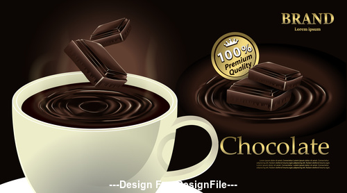 Fragrant chocolate drink vector illustration