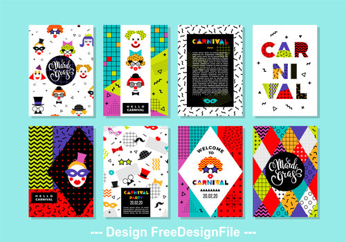 Free Carnival Templates in Memphis Style vector