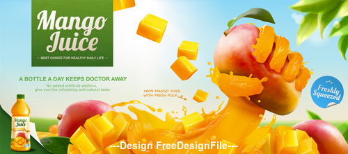 Fresh Mango juice ads 3d vector illustration