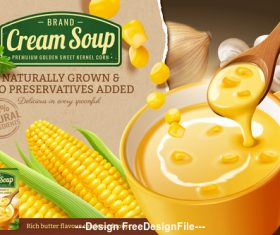 Fresh corn cob and corn cream soup in 3d vector illustration