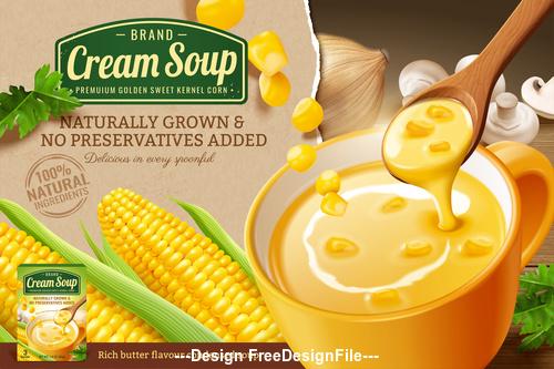 Fresh corn cob and corn cream soup in 3d vector illustration