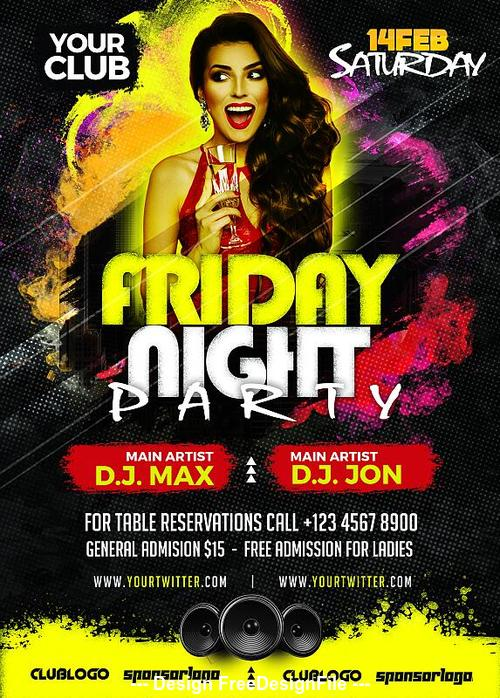 Friday Night Party Flyer Design PSD Template