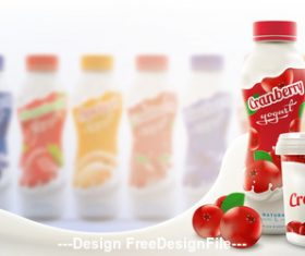 Fruity skim yogurt commercial vector advertising vector