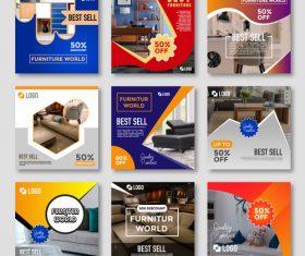 Furniture sales template design vector