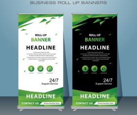 Geometry green and black roll banner design vector template