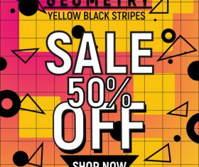 Geometry yellow black stripes sale tag vector