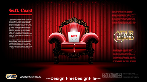 Gift on red sofa vector