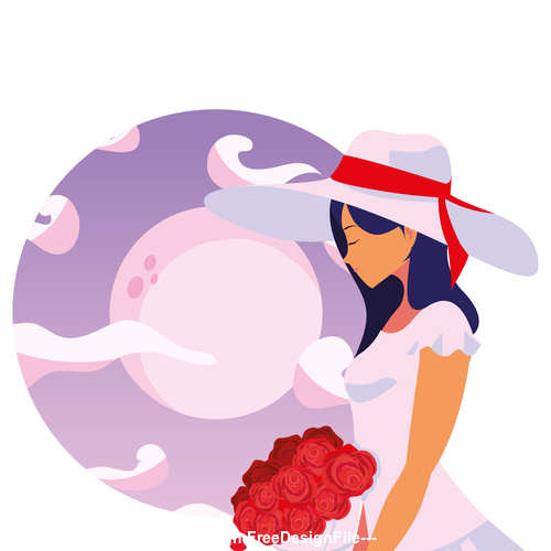 Girl and red rose flower vector