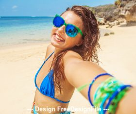 Girl with sea and beach stock photo