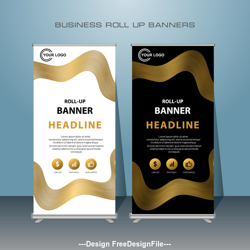 Gold Black White Stand Banner design vector template